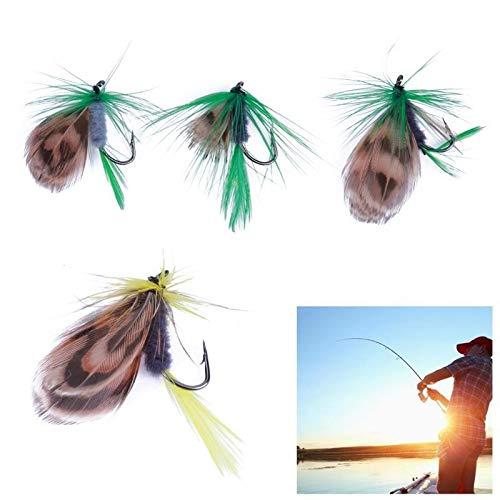 NO LOGO FJJ-DIAOYU, 12 pz/Lotto richiamo di Pesca Set Mosca secca Trota Salmone Galleggiante Insetto Mosche secche Artificiale Esca Morbida Piuma Singolo Gancio Pesca