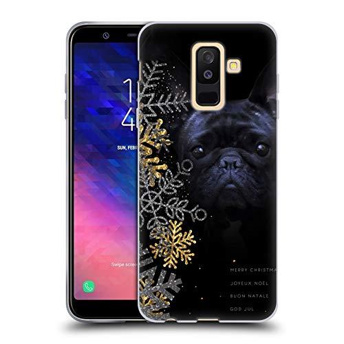 Head Case Designs Ufficiale Klaudia Senator Fiocchi di Neve Bulldog Francese 2 Cover in Morbido Gel Compatibile con Samsung Galaxy A6 Plus (2018)