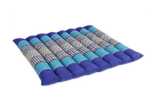 ANADEO YogaProducts - Cuscino da yoga e meditazione piatto e morbido, regolabile in altezza e larghezza – Kapok ad alta densità 100% naturale, solido, stabile e confortevole, colore: blu oceano