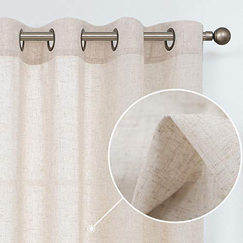 jinchan Linen Textured Curtains for Living Room Grommet Top Window Treatment Set for Bedroom 2 Panels 54 inches Long Crude