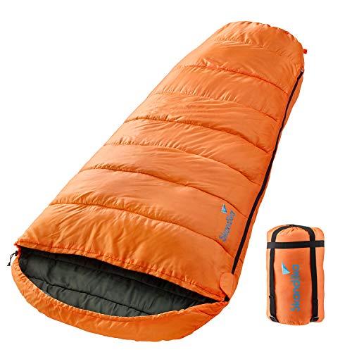 skandika Schlafsack Vegas mit/ohne Baumwolle-Innenstoff | XXL-Mumienschlafsack | Sleeping Pod | 220 x 110 cm | Reißverschluss-Sperre | Luxus-Flanellfutter | koppelbar (orange RV Links)