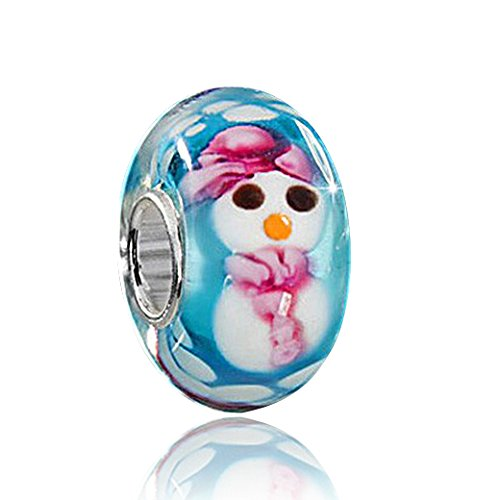 MATERIA 925 Sterling Silber Beads Weihnachten Element - Schneemann Murano Glas Beads Perle blau #1218