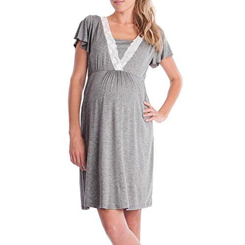 Topgrowth Camicie da Notte Premaman Abito per Allattamento Vestito Donna Casual Madre Pigiama Camicia da Notte (Dark Gray, M)