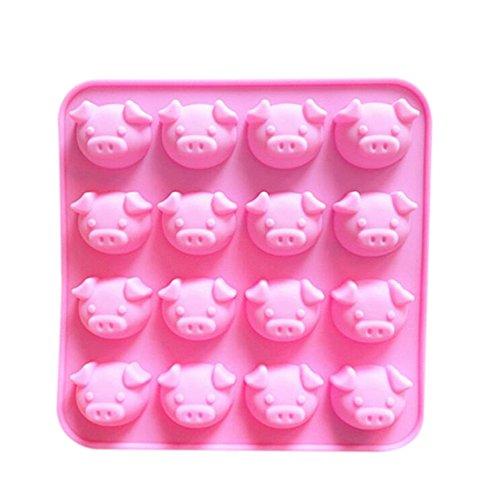 Da.Wa 16-Cavity Pop Pink Cake Mold Turn Sugar Mold Ice Tray Pudding Die Almond Bark Candies Mold