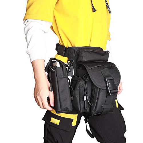 CENGYIUK Sac banane multifonction multifonction étanche multi-usages pour la cuisse militaire et la hanche pour moto, randonnée, voyage, pêche, photographie (Noir)