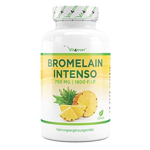 Bromelina Intenso - 750 mg (1800 F.I.P) - 120 cápsulas con cubierta entérica (DRcaps®) - Enzima digestiva natural del extracto de piña - Probado en laboratorio - Vegano - Altamente dosificado