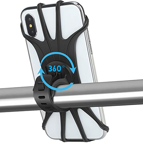 "AONKEY Universal Bike Phone Mount, 360° Rotatable Phone Holder for Bike, Silicone Motorcycle Phone Mount Compatible with iPhone 11/Pro/Xs Max/XS XR X/6S/7/8 Plus, Samsung S20/S10/S9, 4.0""-6.5"" Phones"