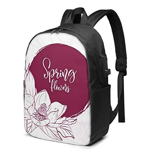 Laptop Backpack with USB Port March Floral Botanical Spring Flower, Business Travel Bag, College School Computer Rucksack Bag for Men Women 17 Inch Laptop Notebook