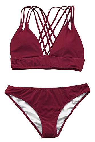 CUPSHE Rouge Vineux Bikini à Bretelles
