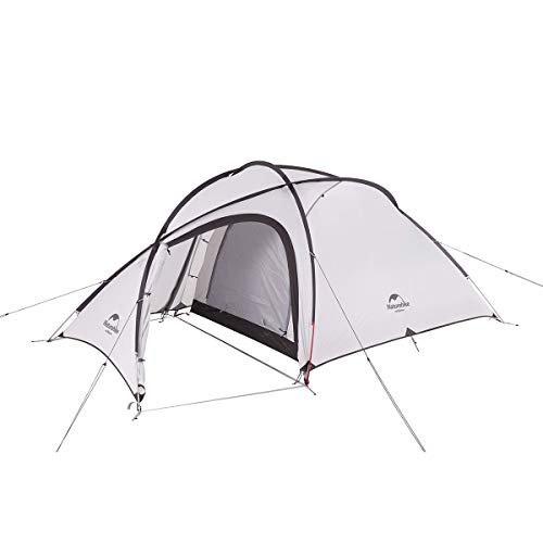 Naturehike公式ショップ テント 自立式 2-3人用 2ルーム 超軽量 広い前室 タープスペース付き 二重層構造 アウトドア キャンプ 登山 防雨 防風 防災(専用グランドシート付) (グレー(20Dアップグレード))