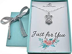 Image: Policewoman badge charm pendant on 16 inch sterling silver box chain with two inch extender. Gift for woman police officer