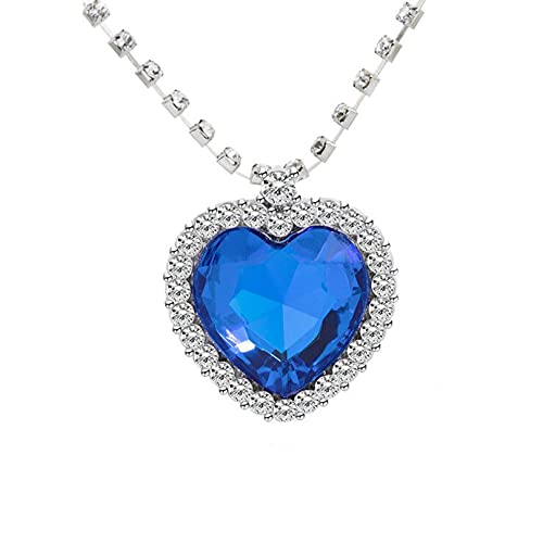 AILUOR Titanic Heart of the Ocean Neckalce, colgante de zafiro con cristal azul real y chapado en plata azul