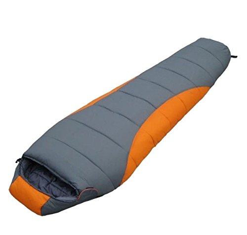 Xin.S Portable Momie Sac De Couchage Avec Sac De Compression Léger Imperméable Camping Voyage Ou Extérieur (bleu Et Oranges),(190+30)*80*55CM-Orange