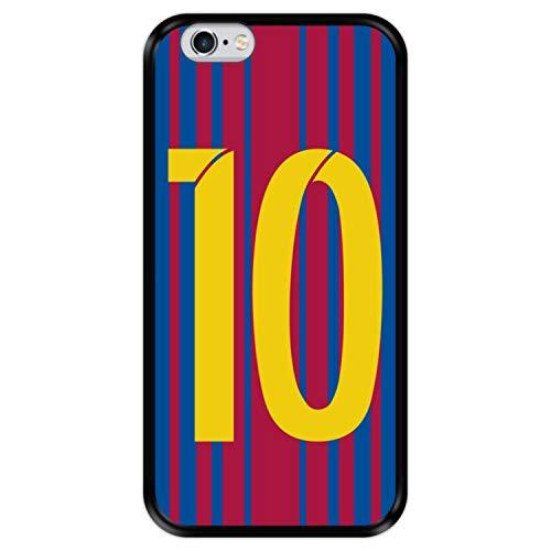 Hapdey Funda Negra para [ Apple iPhone 6 6S ] diseño [ Ilustración fútbol, número 10 ] Carcasa Silicona Flexible TPU
