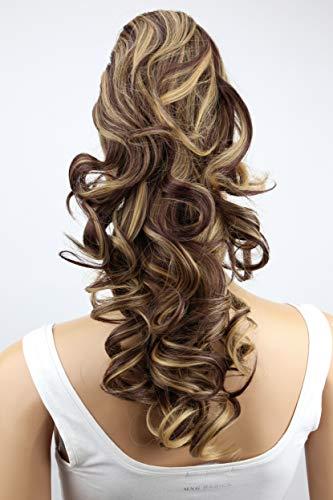 PRETTYSHOP 40cm Haarteil Zopf Pferdeschwanz Haarverlängerung Voluminös Gewellt Braun Blond Mix H218