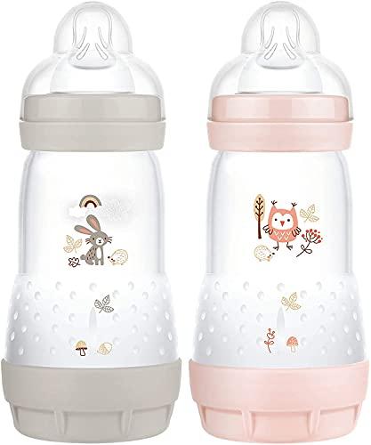 MAM Easy Start Anti-Colic Elements - Juego de 2 biberones (260 ml), Botella de Leche para la Lactancia Materna, Botella para bebé con válvula Inferior contra cólicos, Conejo y búho