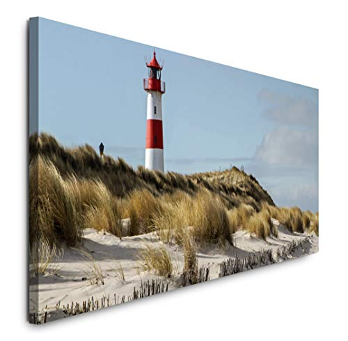 Paul Sinus Art GmbH Leuchtturm am Meer 120x 50cm Panorama Leinwand Bild XXL Format Wandbilder Wohnzimmer Wohnung Deko Kunstdrucke