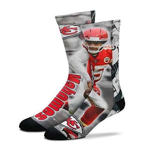 Patrick Mahomes #15 For Bare Feet Kansas City Chiefs Player Montage Sublimation Socks Mens
