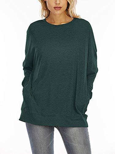 HUANG Jersey holgado con bolsillo de manga larga y cuello redondo para mujer, blusa con bolsillo y camisa, informal, talla S, color verde