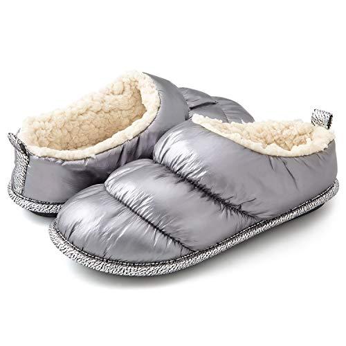 RockDove Women's Down Puff Memory Foam Clog Slipper with Sherpa Lining, Size 9-10 US Women, Silver