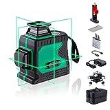 HUTACT Niveau Laser Vert 3D Professionnel Laser Croix Vert 3x360° 12 lignes Niveau laser Green Outil de Mise à Niveau Laser Rotatif Autonivellement pour Intérieur et Extérieur