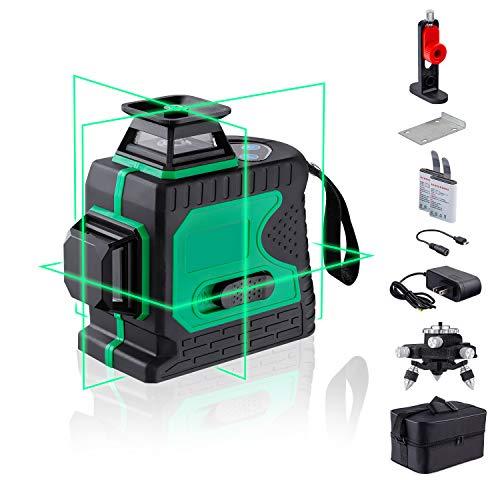 Niveles Láser Verde 3D 12 Líneas Autonivelador Línea Cruzado 3x360 líneas Cruzadas...