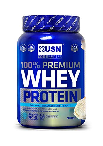 USN 100% Whey Vanilla 908 g: Premium Whey Protein Whey Isolate Protein Powder Blend for Muscle Building & Maintenance