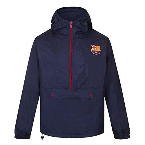 FCB FC Barcelona - Chaqueta Cortavientos Oficial - para Hombre - Impermeable - Azul Marino Media Cremallera - M