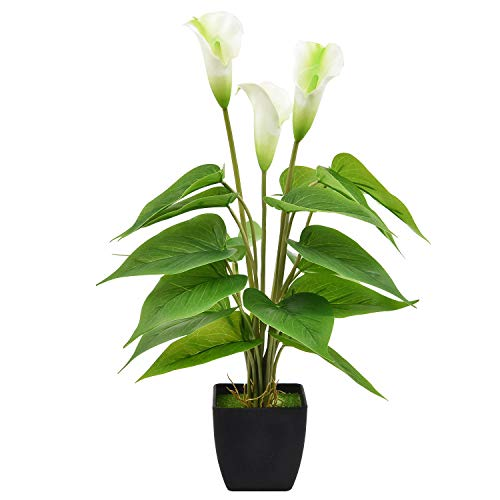 Martine Mall Artificial Calla Lily Potted Plant, Fake Bonsai Potted Flower Arrangements with Pot for Home, Office, Bedroom, Table Centerpieces Decor, 17'',White