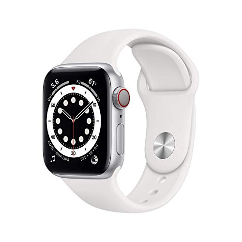 AppleWatch Series 6 (GPS + Cellular, 40mm) - Silver Aluminum Case with White Sport Band (Renewed)
