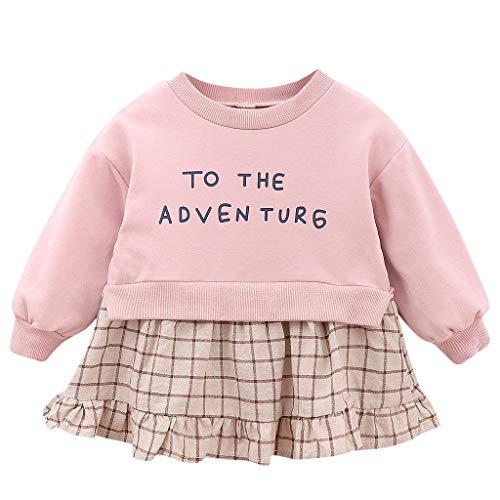 Julhold Peuter Kinderen Baby Meisjes Leuke Mode Letter Print Plaid Patchwork Casual Houd Losse Prinses Party Jurk 0-24 Maanden