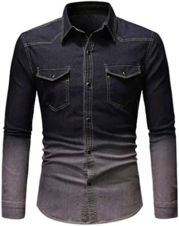 Men 3XL Jean Shirt Jacket Washed Button Down Denim Shirt Slim Fit Long Sleeve Blouse Winter product image