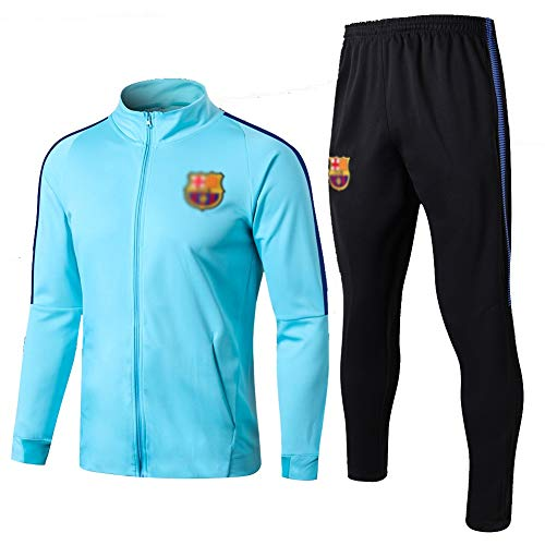 ZH~K Traje de entrenamiento de club de fútbol europeo para hombre, manga larga, transpirable, ropa deportiva (parte superior + pantalones) – A1133 sudaderas para hombre (color: azul claro, tamaño: M)
