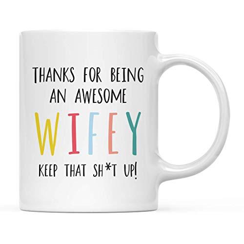 Jopath Divertida taza de café de cerámica de 325 ml, regalo colorido con texto en inglés «Thank For Being An Awesome Friend Keep That Sht Up»