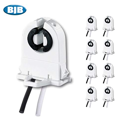 8 Pack - BJB UL Listed Non-Shunted T8 Lamp Holder Socket Tombstone with 12 Inch Wires Attached for LED Fluorescent Tube Replacements Push Through Snap In Lampholder (8)