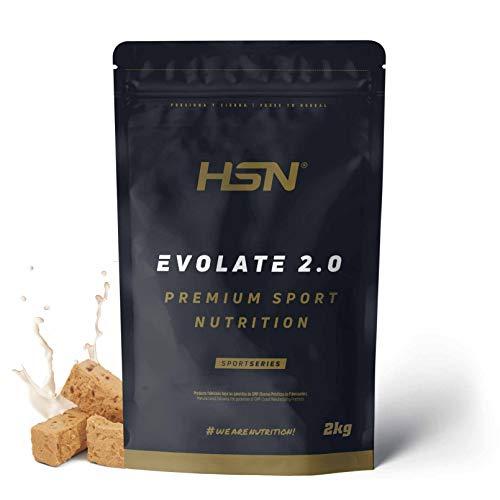 Aislado de Proteína de Suero de HSN Evolate 2.0 | Whey Protein Isolate | Proteína CFM + Enzimas Digestivas (Digezyme) + Ganar Masa Muscular | Vegetariana, Sin Gluten, Sin Soja, Turrón, 2Kg