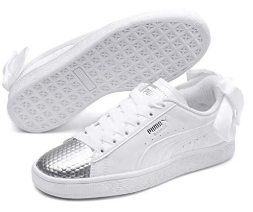 PUMA Sneakers Basket Bow Coated Glam JR White Silver 368983-01 (38.5 - Bianco)