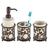 mDesign Decorative Ceramic Bathroom Vanity Countertop Accessory Set - Includes Refillable ...