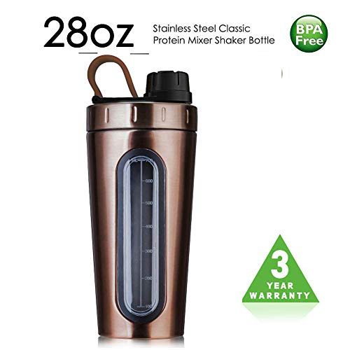 TOPWARE Shaker Bottle Stainless Steel Classic Protein Mixer 18oz 530ml Large Dishwasher Safe BPA Free Leak Proof Mixing Shaker Cup Portable Loop For Sports Fitness Nutrition