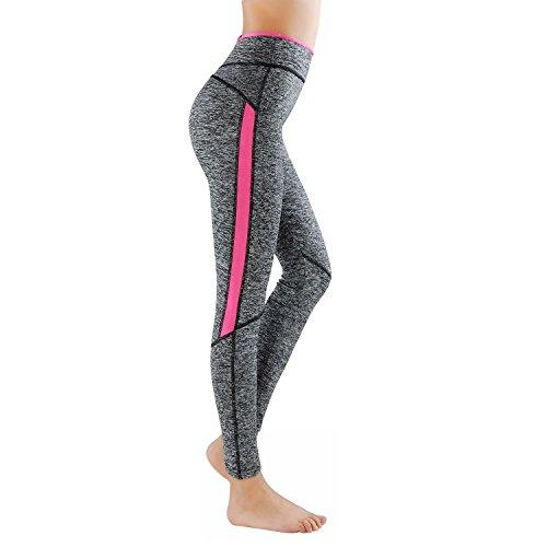 GoVIA L&K-II Leggins para Damas Pantalones Deportivos Largos para Training Running Yoga Fitness Transpirables con Cintura Alta 4113 Rosa L/XL