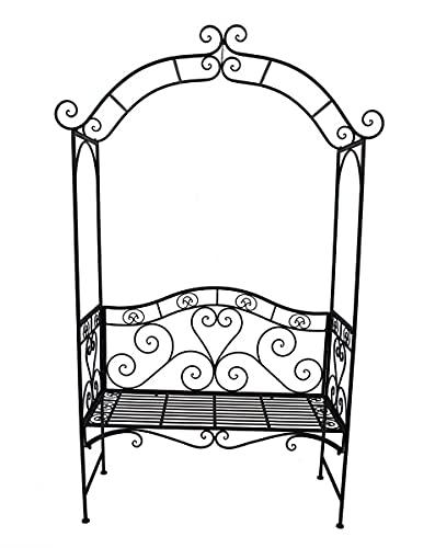 Metall Sitzbank mit Rosenbogen - 200x124x48 cm - Outdoor Lounge Garten Bank mit Rosen Dekoration 2-Sitzer