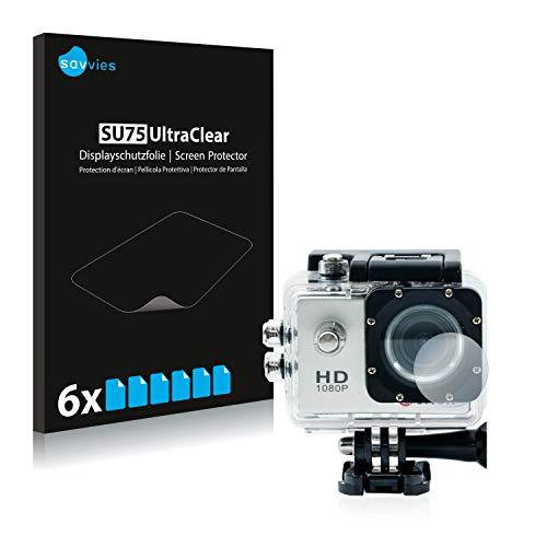 Savvies 6X Schutzfolie kompatibel mit Qumox SJ4000 Sports HD DV Action Cam Linse (Gehäuse) Displayschutz-Folie Ultra-transparent