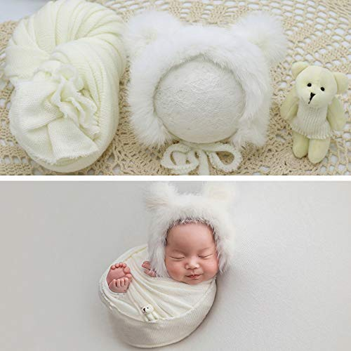Ruiqas Neugeborene Fotografie Requisite Wrap Flauschigen Hut Bär Puppe Set Säugling Baby Foto Requisiten Outfits (Weiß)