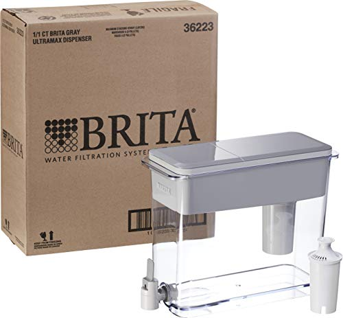 """Brita Standard UltraMax Water Filter Dispenser, Gray, Extra Large 18 Cup, 1 Count 9 The BPA-free UltraMax water dispenser holds 18 cups of water, enough to fill 6 24-ounce reusable water bottles Get great tasting water without the waste; by switching to Brita, you can save money and replace 1,800 single-use plastic water bottles a year This space efficient filtered water dispenser fits perfectly on refrigerator shelves, features an easy locking lid and precision pour spigot; Height 10.47""""; Width 5.67""""; Length/Depth 14.37""""; Weight 3 pounds"""