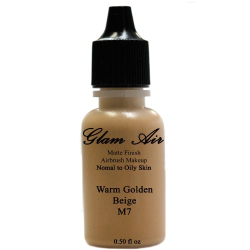Large Bottle Airbrush Makeup Foundation Matte Finish M7 Warm Golden Beige Water-based Makeup Long Lasting All Day Without Smearing Running, Fading or Caking 0.50 Oz Bottle By Glam Air by Glamair