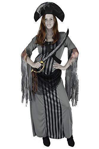 Foxxeo Langes Geister Piraten Kleid mit Piratenhut für Damen zu Fasching Karneval Halloween Kostüm Größe XXXL