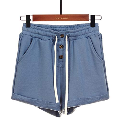 YANFANG Shorts Deportivos, Cintura Alta, Color Liso, Damas, AlgodóN, Cordones,Moda Mujer Alta Yoga Deporte Pantalones Cortos Caramelo Leggings,Azul,3XL