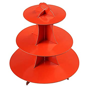 YLDW 3-Tier red Cardboard Cupcake Stand holder  12 W x 12.8 H  Tower suit for nursery children party1-Set  red