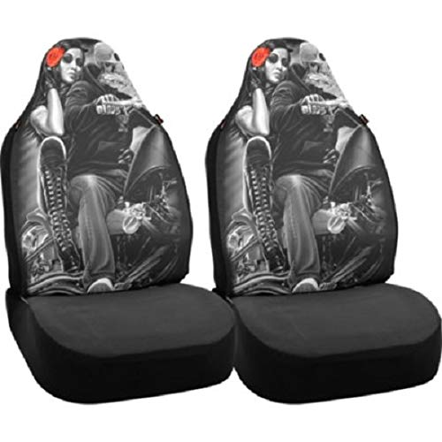 DGA Bell Automotive Day of The Dead Ride or Die Biker Babe Universal Bucket Seat Covers - 2 Pack