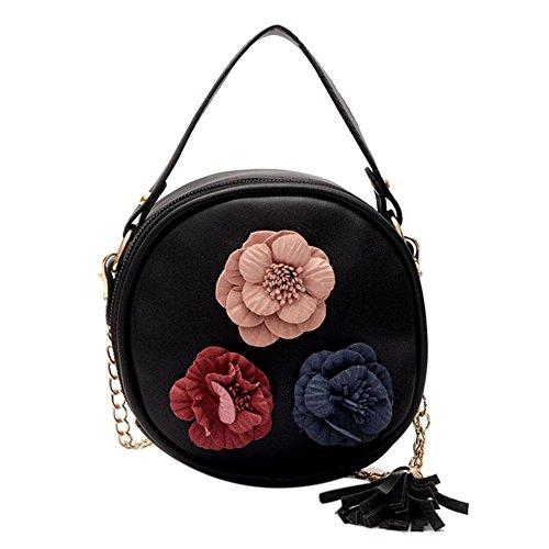 Diamondo Bolsa de ombro redonda feminina de couro sintético com estampa floral e borla transversal